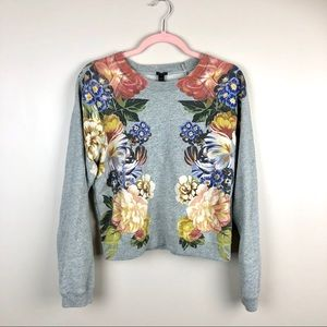 J.CREW Gray Floral Sweater